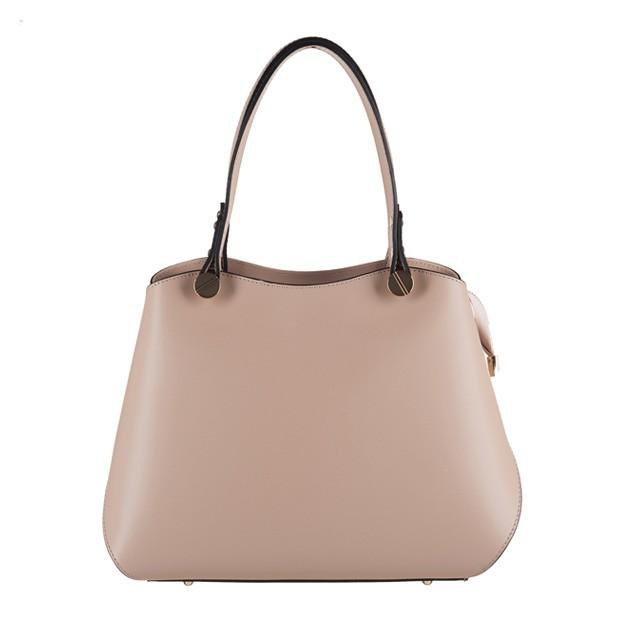 Vera Pelle - Włoska elegancka torebka kuferek matowa skóra brudny róż (3132)