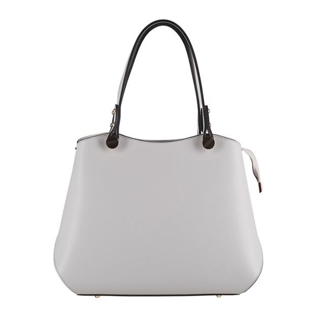Vera Pelle - Włoska elegancka torebka kuferek matowa skóra szara (3133)