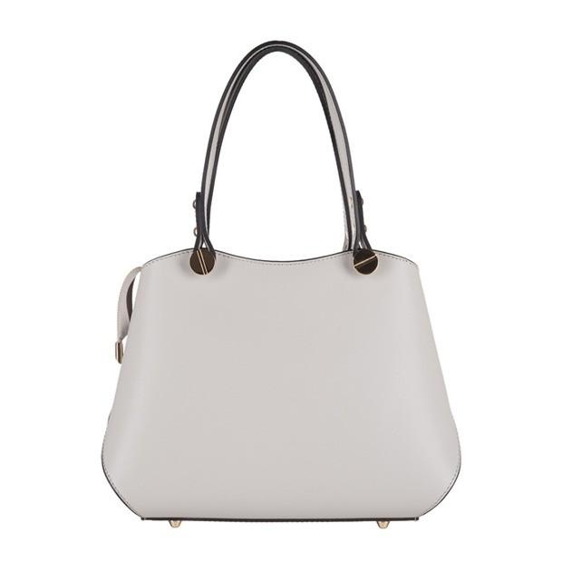 Vera Pelle - Włoska elegancka torebka mały kuferek matowa skóra jasnoszara (3138)
