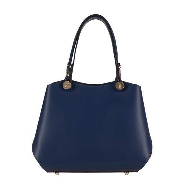 Vera Pelle - Włoska elegancka torebka mały kuferek matowa skóra granatowa (3140)