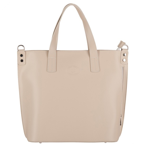 Vera Pelle - Włoska duża klasyczna torebka A4 matowa skóra beżowa (3141)