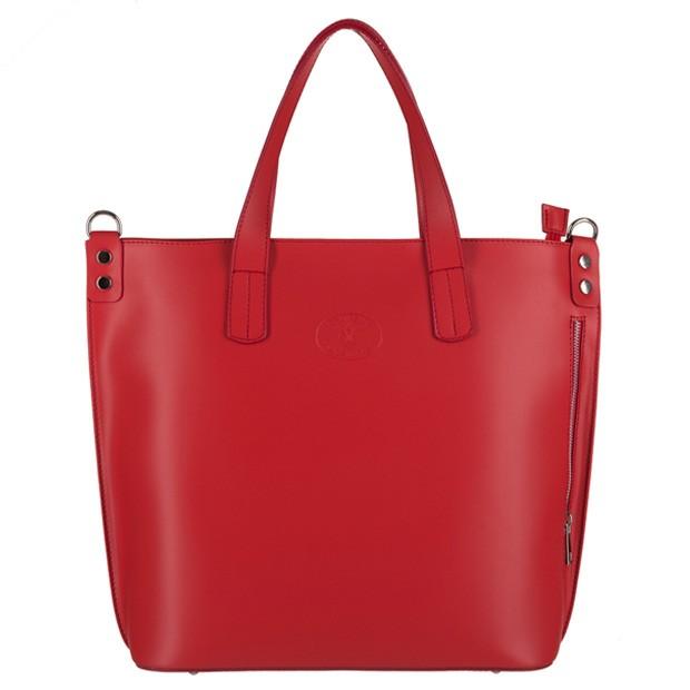 Vera Pelle - Włoska duża klasyczna torebka A4 matowa skóra czerwona (3142)