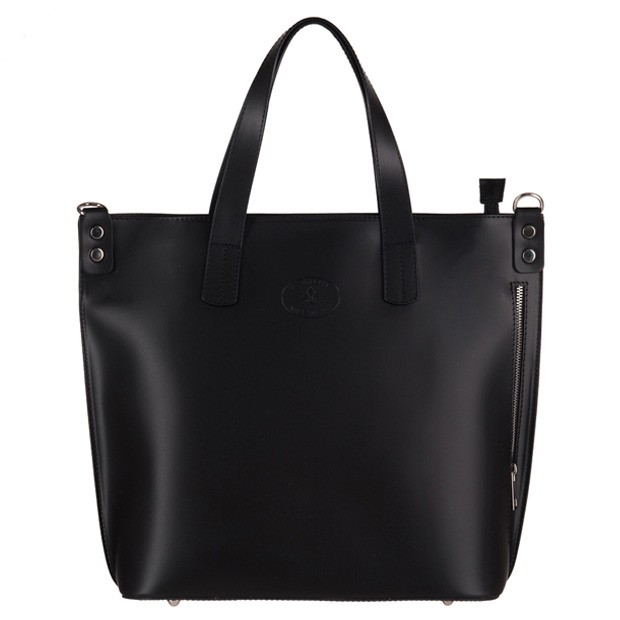 Vera Pelle - Włoska duża klasyczna torebka A4 matowa skóra czarna (3143)