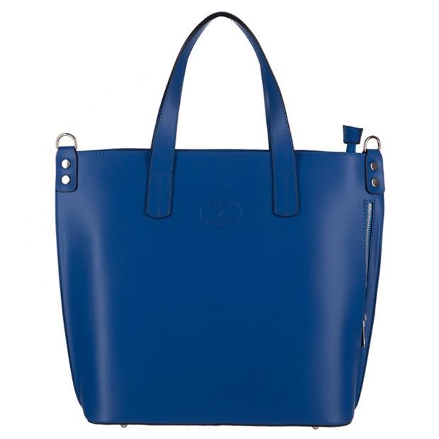 Vera Pelle - Włoska duża klasyczna torebka A4 matowa skóra niebieska (3144)