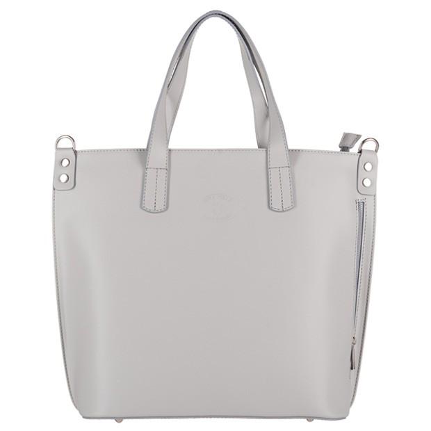 Vera Pelle - Włoska duża klasyczna torebka A4 matowa skóra szara (3145)
