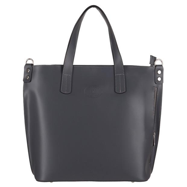 Vera Pelle - Włoska duża klasyczna torebka A4 matowa skóra grafitowa (TS-3143-03)