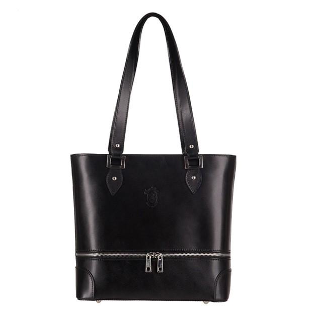 Vera Pelle -  Włoska klasyczna torebka skórzana z zamkami czarna (3148)
