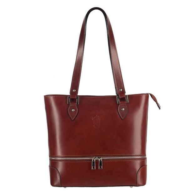 Vera Pelle -  Włoska klasyczna torebka skórzana z zamkami brązowa (TS-3148-02)