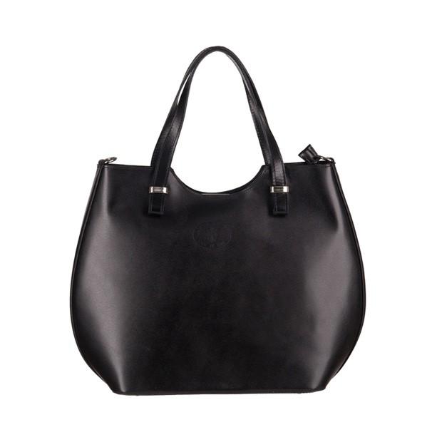 Włoska torebka shopper bag gładka skóra srebrne okucia czarna (3158)