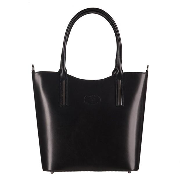 Vera Pelle -  Włoska klasyczna torebka skórzana czarna (3165)