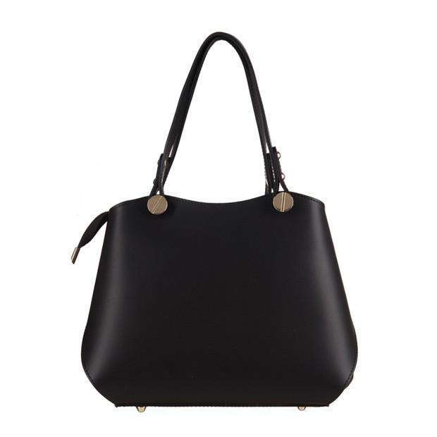 Vera Pelle - Włoska elegancka torebka mały kuferek matowa skóra czarna (3174)