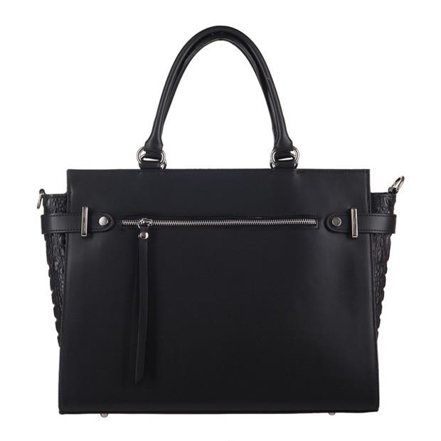 Włoska elegancka torebka kuferek matowa skóra+krokodyl czarna (3200)