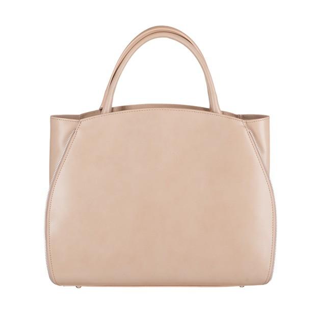 Vera Pelle - Włoska elegancka torebka skórzana A4 beżowa (3205)