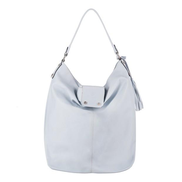 Vera Pelle - Włoska skórzana torebka A4 worek z frędzlami błękit (3208)