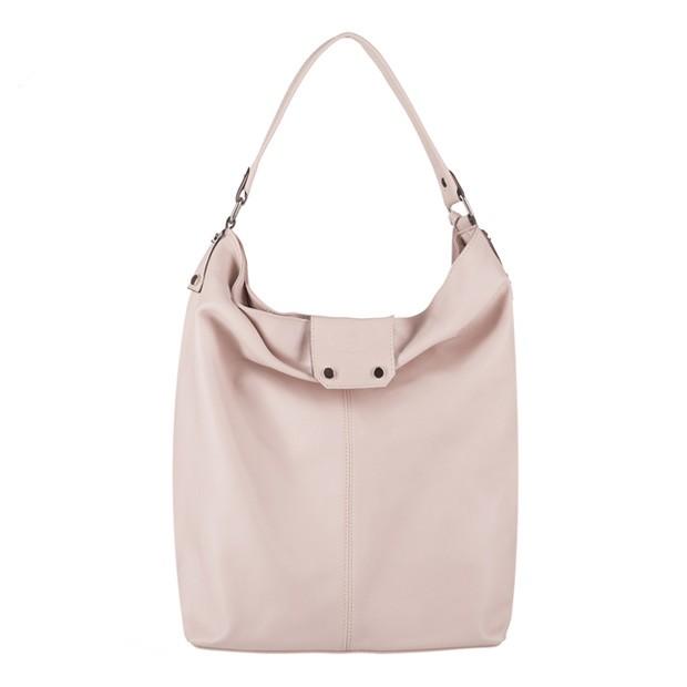 Vera Pelle - Włoska skórzana torebka A4 worek z frędzlami kremowa (3209)