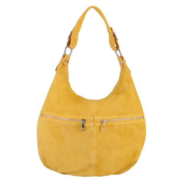 Włoska torebka worek A4 zamsz naturalny żółta (3210)