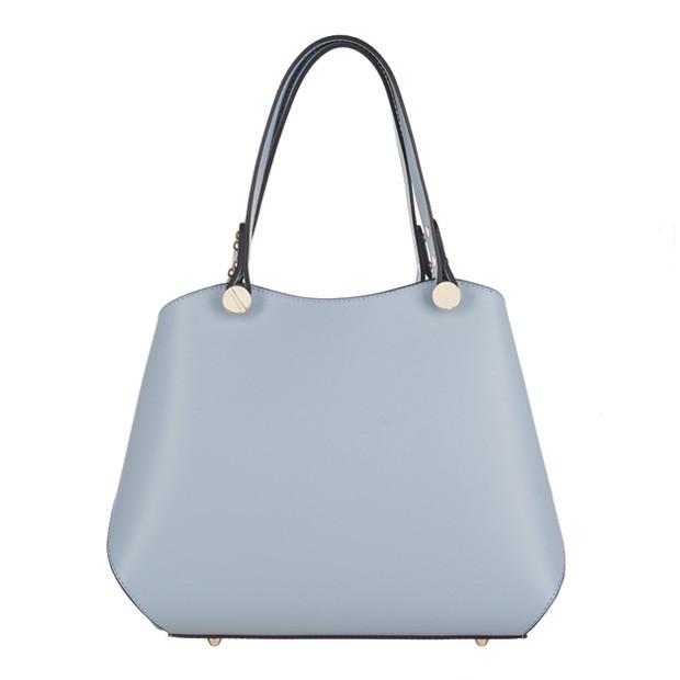 Vera Pelle - Włoska elegancka torebka kuferek matowa skóra błękitna (3238)