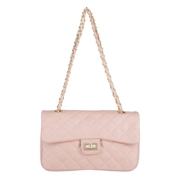 Włoska torebka skórzana pikowana różowa (3241)