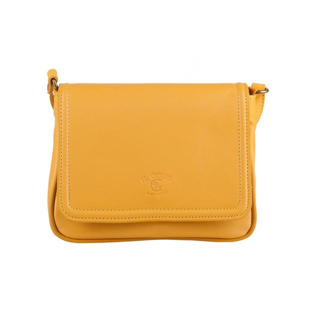Włoska mała skórzana torebka listonoszka żółta (3242)
