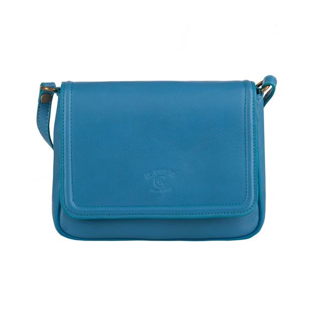 Włoska mała skórzana torebka listonoszka niebieska (3243)