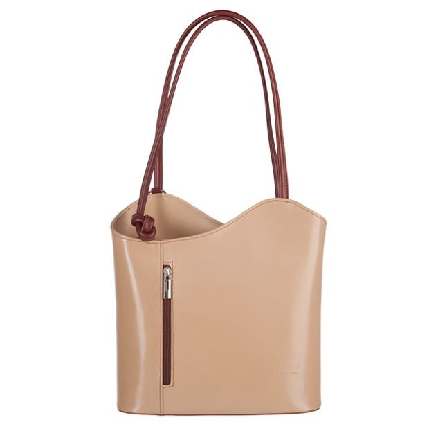 Florence - Skórzana włoska torebka plecak 2w1 beżowa+brąz (3247)