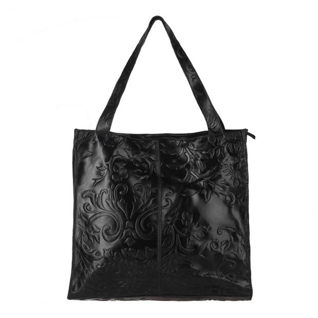 Włoska skórzana torebka tłoczona worek czarna (3268)