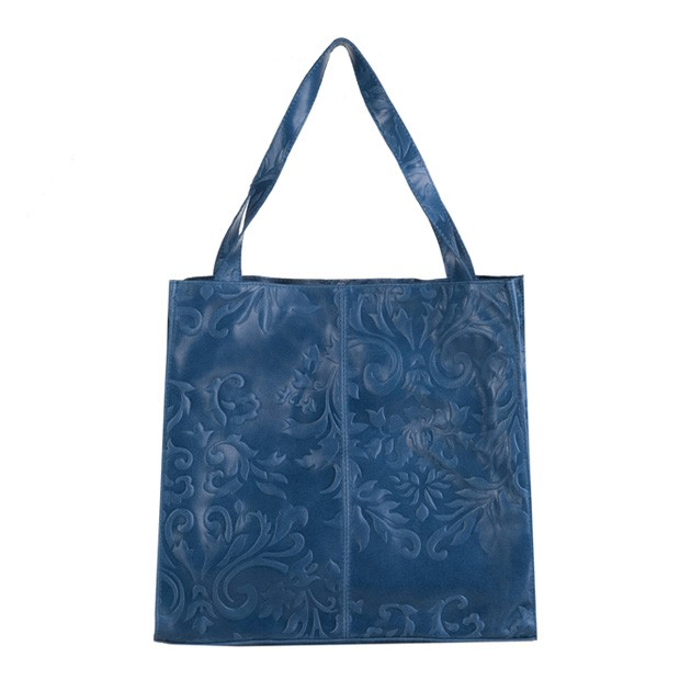 Włoska skórzana torebka tłoczona worek niebieska (3271)