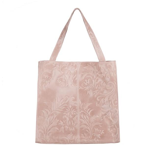 Włoska skórzana torebka tłoczona worek różowa (3272)