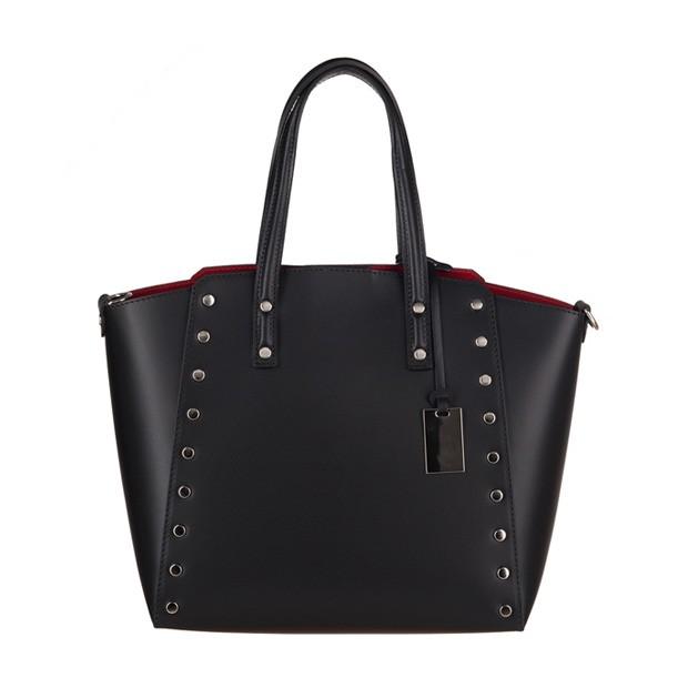 Włoska elegancka torebka kuferek matowa skóra czarna (3275)