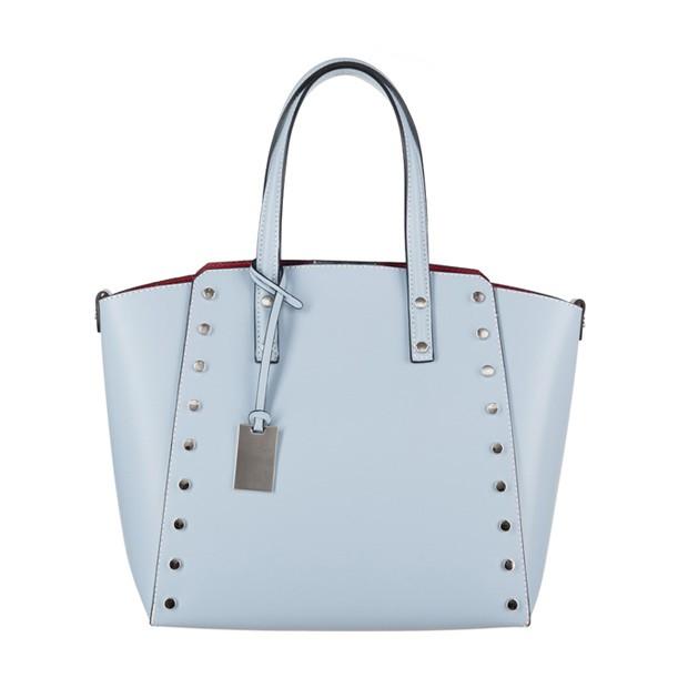 Włoska elegancka torebka kuferek matowa skóra błękitna (3278)