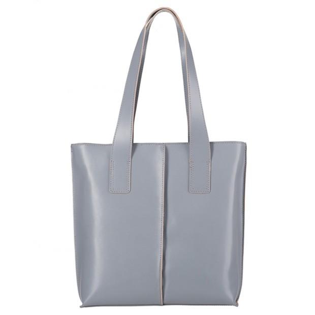 Włoska klasyczna torebka skórzana A4 szara (3280)