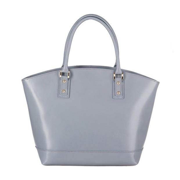 Włoska skórzana torebka typu shopper bag A4 szara (3282)