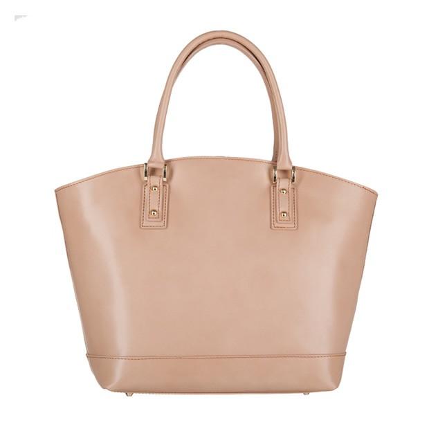Włoska skórzana torebka typu shopper bag A4 beżowa (3283)