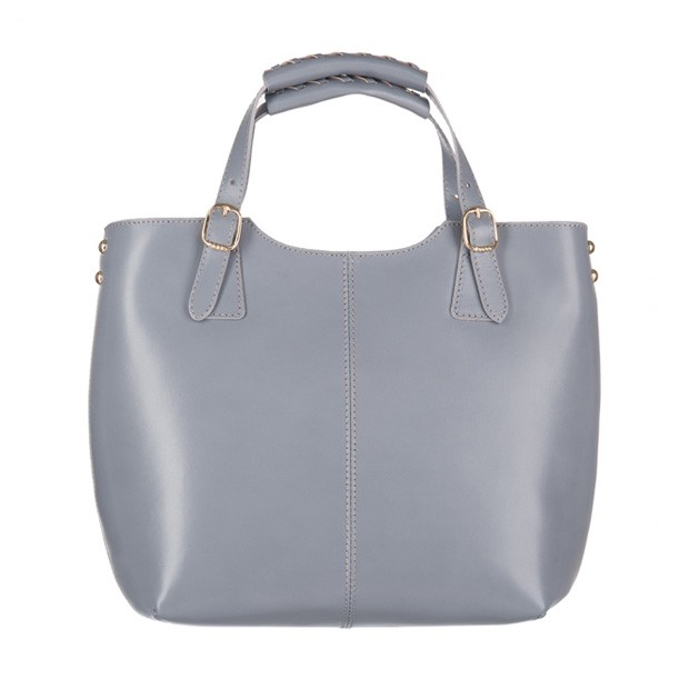 Włoska skórzana torebka shopper bag złote okucia A4 szara (3284)