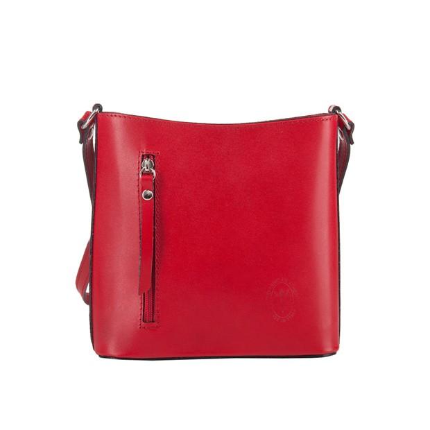 Włoska torebka skórzana listonoszka czerwona (3311)