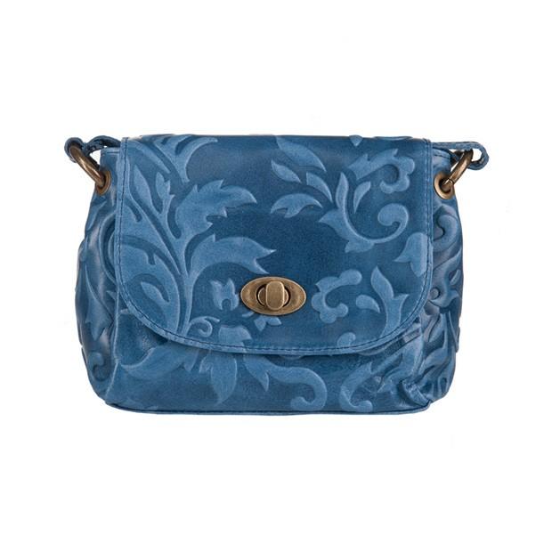 Włoska mała skórzana torebka listonoszka tłoczona niebieska (3327)