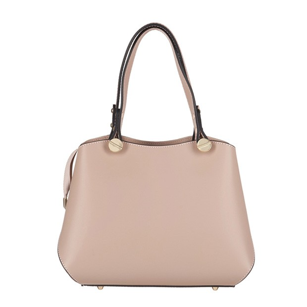 Vera Pelle - Włoska elegancka torebka mały kuferek matowa skóra beżowo-różowa (3338)