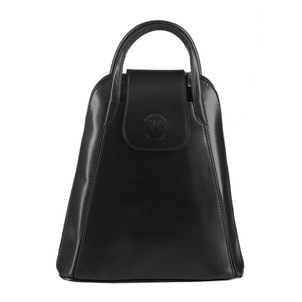 Włoski skórzany plecak czarny (3349)