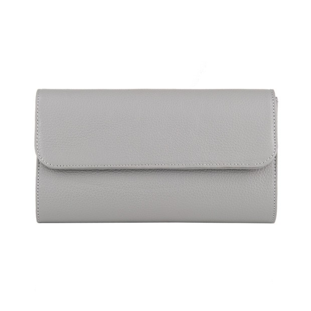 Włoska elegancka skórzana kopertówka szara (3352)