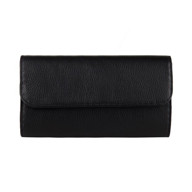 Włoska elegancka skórzana kopertówka czarna (3354)