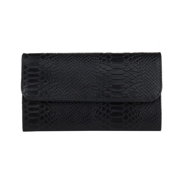 Włoska elegancka skórzana kopertówka krokodyl czarna (3357)