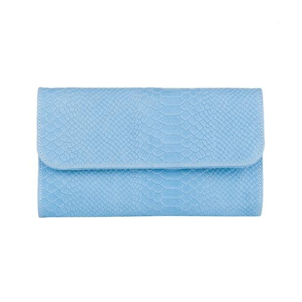Włoska elegancka skórzana kopertówka krokodyl niebieska (3358)