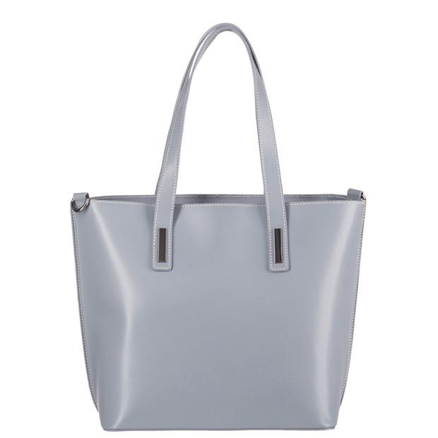 Włoska torebka klasyczna A4 jasnoszara (3402)