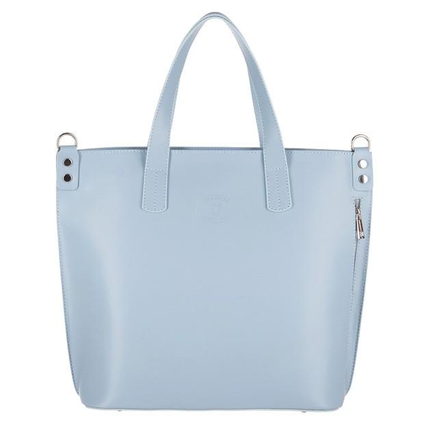 Vera Pelle - Włoska duża klasyczna torebka A4 matowa skóra błękitna (3420)