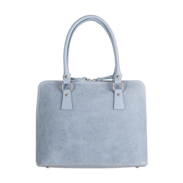 Włoska klasyczna torebka skórzana tłoczone kwiaty błękitna (3445)