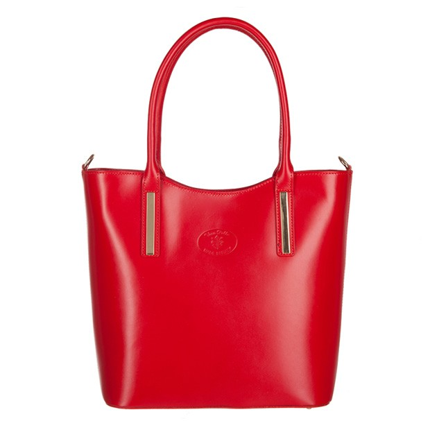 Vera Pelle -  Włoska klasyczna torebka skórzana czerwona (3453)