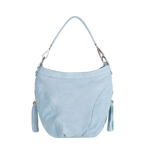Włoska torebka worek zamsz naturalny błękitna (3467)