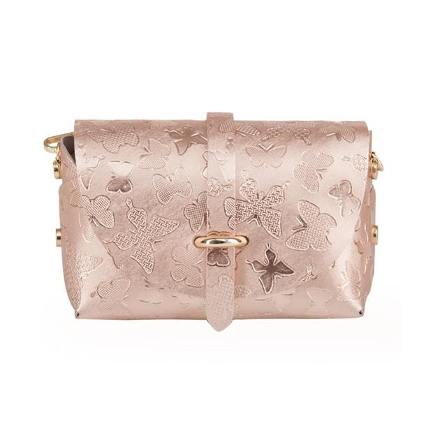 Włoska mała torebka listonoszka skóra tłoczone motyle różowe złoto (3499)