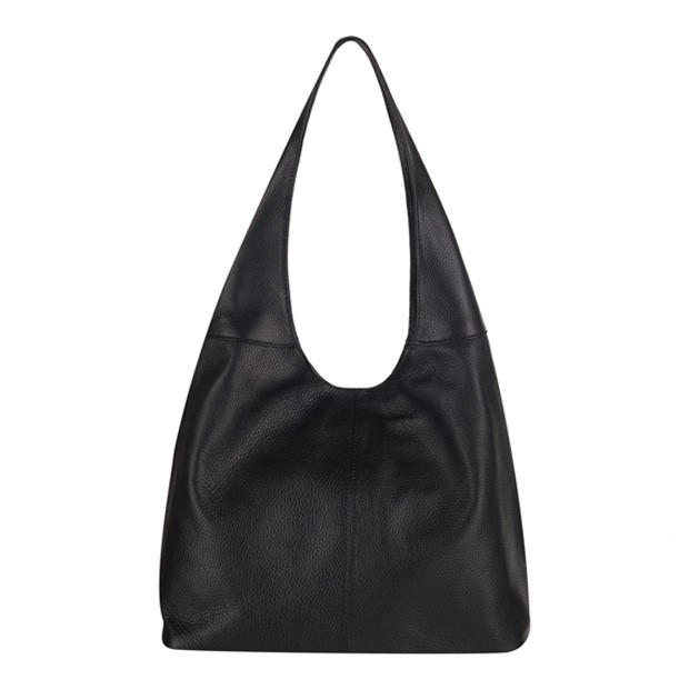 Włoska skórzana torebka worek czarna (3516)