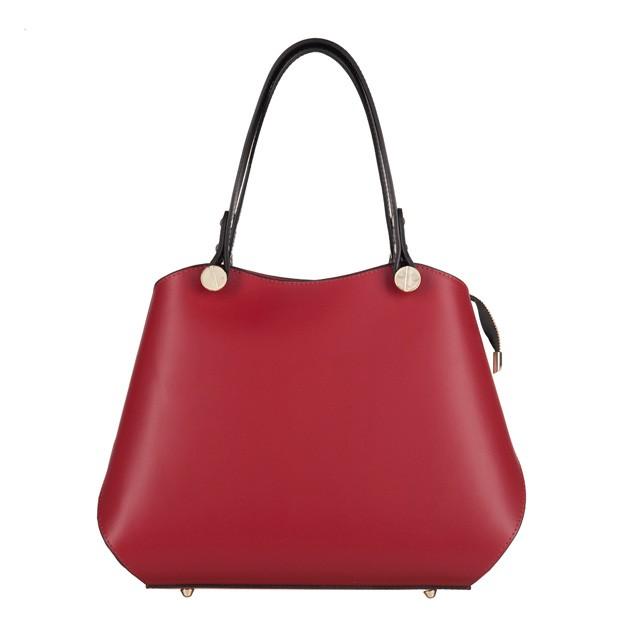 Vera Pelle - Włoska elegancka torebka kuferek matowa skóra czerwona+czarny (3534)